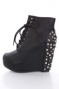 12682dba9643 Black Faux Leather Spike Studded Lace Up Bootie Wedges   Amiclubwear Wedges  Shoes Store Wedge Shoes
