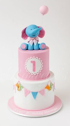 Pink & White Baby Cake with Bunting and Elephant with Balloon Topper (Georgie) Baby Cakes, Girl Cakes, Baby Shower Cakes, Pretty Cakes, Cute Cakes, Beautiful Cakes, Fondant Cakes, Cupcake Cakes, Foto Pastel
