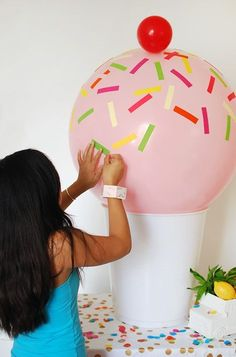 Use Target's $12 giant plastic cup stool as an ice cream party decoration.