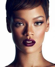 dark lip makeup rihanna - Google Search