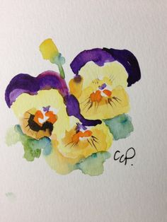 Pansy Watercolor Card by gardenblooms on Etsy
