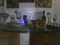 Left over wine glasses,fake flowers,crystals an a little fountains make a nice relaxed moment. Just add night lights.