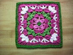 """Catalina Afghan Square - Free 9"""" or 12"""" square crochet pattern by Julie Yeager (this is the smaller size)"""