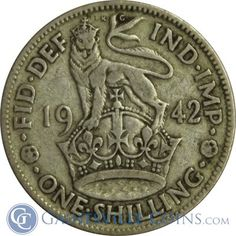 1942 Great Britain 1 Shilling Silver Coin http://www.gainesvillecoins.com/