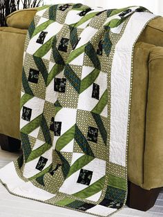 Diamonds are for ever!...Really clever way to use limited color selections and a nine-patch with HSTs. Two blocks...great design!