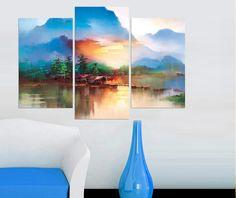 Kızıl Manzara 3 parçalı tablolar