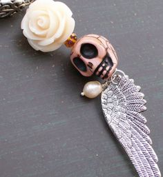 Sugar Skull Day of the Dead Ivory Rose and Sugar by VivaGailBeads, $14.00