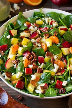 Autumn Spinach Salad with Orange Poppy Dressing – Cooking Classy Apple Mandarin Orange Pear and Feta Spinach Salad with Orange Poppy Seed Dressing Feta Salat, Clean Eating, Healthy Eating, Greens Recipe, How To Make Salad, Healthy Salad Recipes, Orange Poppy, Soup And Salad, Pasta Salad