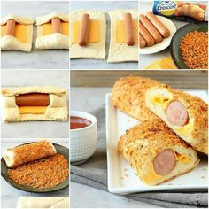 Take crescent dogs up a notch with slices of American cheese and covered with crunchy nacho cheese flavored tortilla chips. Hot Dog Buns, Hot Dogs, Entrée Simple, Crescent Dogs, Comida Diy, Food Should Taste Good, Dog Food Recipes, Cooking Recipes, Recipes Dinner