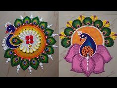 Rangoli Designs Peacock, Rangoli Designs Simple Diwali, Rangoli Designs Latest, Latest Rangoli, Free Hand Rangoli Design, Rangoli Ideas, Rangoli Designs With Dots, Rangoli With Dots, Diwali Rangoli
