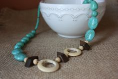 Turquoise and Wood Beads with Wood Circles by AddSomeCharmBoutique, $11.95