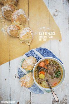 Garden Vegetable Beef Soup #recipe via FoodforMyFamily.com