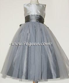 gray flower girl dresses | Platinum and Medium Gray Silk Tulle Flower Girl Dresses by PEGEEN