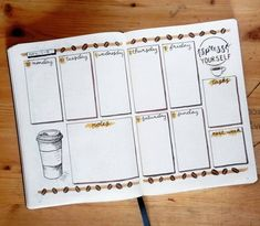 These 27 coffee bullet journal layout spread ideas will have you bouncing off the walls with inspiration for your next. Bullet Journal Inspo, Bullet Journal Novembre, Bullet Journal Spreads, Bullet Journal Planner, February Bullet Journal, Bullet Journal Cover Page, Bullet Journal Ideas Pages, Bullet Journal Layout, Bullet Journals