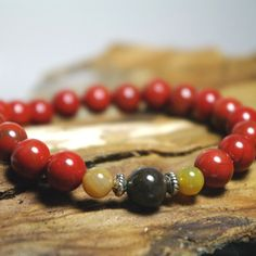 SALE - Awaken Your Spirit - Red Jasper and Wooden Agate Meditation Stretch Beaded Bracelet by Angelof2, $19.00