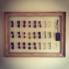 Eyeglass display - frame with wire mesh background, for all the Warbies I'm buying!