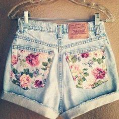 Short de jean floral