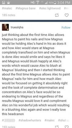Malec ^^^ or Alec is secretly really good at this because of Izzy Shadowhunters Series, Shadowhunters The Mortal Instruments, Good Books, Books To Read, Immortal Instruments, Cassie Clare, Cassandra Clare Books, City Of Bones, The Mortal Instruments