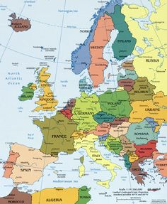 Europe detailed political map with capitals. Detailed political map of Europe with capitals. Geography Map, Teaching Geography, World Geography, Pays Francophone, Europe Continent, Backpacking Europe, Travel Europe, Europe Europe, Cruise Port