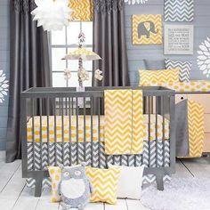 Chevron Modern Gray and Yellow Polka Dots Nursery Baby 3 Piece Crib Bedding Set 763872138300 | eBay