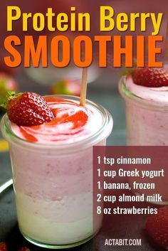 4 Weight Loss Smoothies to Make at Home - Easy and Healthy Recipes Protein Berry Blast - Weight Loss Smoothie Recipe. Check the Protein Berry Blast smoothie and 3 other weight loss smoothies you can make at home. Try these smoothie recipes for nutritious, Protein Smoothies, Fruit Smoothies, Smoothies Banane, Smoothie Proteine, Easy Smoothies, Vegetarian Smoothies, Morning Smoothies, Smoothie Blender, Smoothie Cleanse