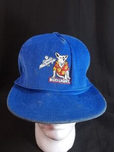 Spuds Mackenzie Cap Hat Bud Light Blue Corduroy Snapback 1985 Vintage #Stylemaster #Cap #Casual