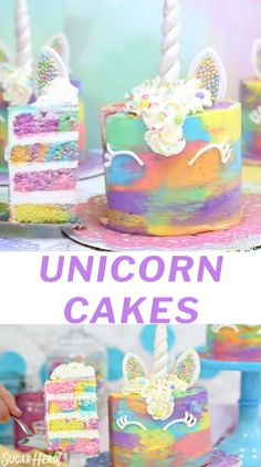 These Unicorn Cakes are colorful all throughout! Surprise your guests with a such a fun cake! It is enjoyed by the whole Easy Unicorn Cake, Unicorn Cake Pops, Unicorn Cakes, Unicorn Rainbow Cake, How To Make A Unicorn Cake, Unicorn Mask, Cake Rainbow, Kids Rainbow, Unicorn Themed Birthday Party