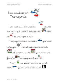Unidad 5 los medios de transporte by Belinda Haro Castilla via slideshare Spanish 1, Spanish Lessons, Spanish Exercises, Spanish Classroom, Travel And Tourism, Lesson Plans, Curriculum, Transportation, The Unit