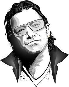 Bono Vox Vector Portrait.