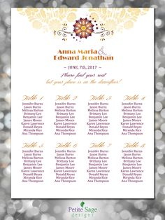 Printable Wedding Seating Chart Template, Elegant Embroidery Element Seating Plan, Gold Floral Wedding Reception Guests Seating Plan