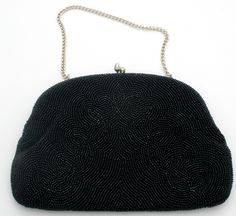 Vintage Hand Beaded Black Glass Purse Evening Bag Japan