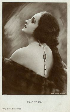 https://flic.kr/p/cMW7jm | Fern Andra | German postcard by Ross Verlag, no. 385/5, 1919-1924. Photo: Atelier Schneider, Berlin.   'Modern' American actress Fern Andra (1893-1974) became one of the most popular film stars of the German cinema in the 1910's and early 1920's. In her films she mastered tightroping, riding horse without a saddle, driving cars and motorcycles, bobsleighing, and even boxing.   For more postcards, a bio and clips check out our blog European Film Star Postcards.