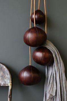 Leather Balls Coat Hook