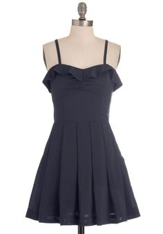 Be My Navy Dress - Short, Blue, Solid, Cutout, Pleats, Ruffles, Party, A-line, Spaghetti Straps, Top Rated