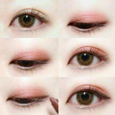 Eye Makeup Tips.Smokey Eye Makeup Tips - For a Catchy and Impressive Look Korean Makeup Tips, Asian Eye Makeup, Korean Makeup Tutorials, Asian Kawaii Makeup, Ulzzang Makeup Tutorial, Makeup Korean Style, Peach Eye Makeup, Brown Makeup, Makeup Style