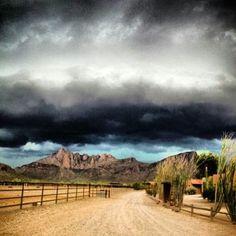 Monsoon clouds near Tucson, Arizona Monsoons can bring rain, sleet, and hail. Have even seen big snow flakes (rarely.)