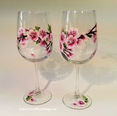 Hand Painted Cherry Blossom Wine Glass 18.5 by LemonTreeWorkshop