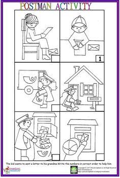 Story Sequencing Worksheets, Sequencing Pictures, Social Studies Worksheets, Sequencing Activities, Preschool Printables, Kindergarten Worksheets, Worksheets For Kids, Community Helpers Kindergarten, Community Helpers Worksheets