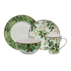 Not that I want it, but it sure is pretty...222 Fifth Christmas Foliage 16-pc. Dinnerware Set