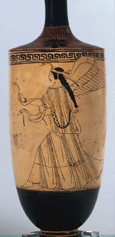 Etruscan pottery C.600BC~ Winged goddess with serpents. Here, serpents are identified as a good symbol (fertility, rebirth and regeneration)