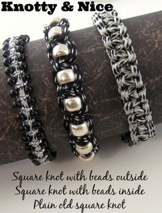 I used black, white and silver knotting cord with the @Beadalon Acrylic Tying Station to make these quick, knotted bracelets.