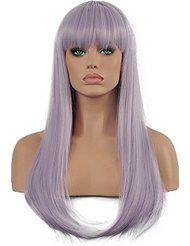 long straight wigs light purple
