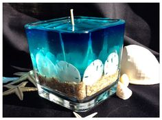 Candle Aqua Sand Dollar Gel Candle by GelbyDesignCandles on Etsy Gel Candles, Candle Lanterns, Pillar Candles, Homemade Candles, Homemade Crafts, Sand Dollar Art, Aqua Blue Color, Glass Cube, Candlemaking