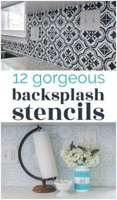 Painting Tile Backsplash, Backsplash Cheap, Painting Countertops, Kitchen Backsplash Diy, Painting Oak Cabinets White, Stencil Diy, Tile Stencils, Stenciling Walls, Stenciled Floor