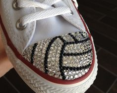Volleyball Blinged Converse #TeamMomBling custom shoes made with Swarovski & Converse by TeamMomBling on Etsy https://www.etsy.com/listing/193737544/volleyball-blinged-converse-teammombling