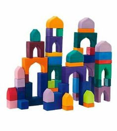 1001 Nights Wooden Block Set Handmade in Germany, 54 Pieces by Grimm's GMBH. $139.00. Inspire little builders to create grand structures. Comes with a sturdy storage tray. Architectural shapes encourage open-ended design. For ages 3 and up. Stained-glass-like colors are beautiful. Inspire little builders to construct grand structures, with this innovative set of wooden blocks. The architectural shapes encourage open-ended design, and the stained-glass-like col...
