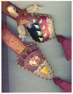 Embroidered chatelaines or scissor keepers