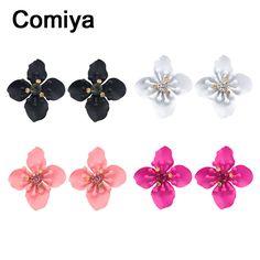 Comiya designer black flowers stud earrings for women jewelry accessories boucle d'oreille basket femme wholesale post earring