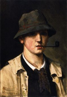 Self Portrait with Pipe , c. 1880  , by Henri Manguin
