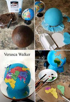 Tutorial World Cake - by Verusca Walker cake decorating website Map Cake, Cake Art, Cake Decorating Techniques, Cake Decorating Tutorials, Fondant Cakes, Cupcake Cakes, 3d Cakes, Globe Cake, Earth Cake